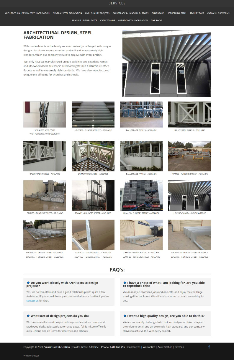 website design agency in adelaide webdesign for Pruszinski Fabrication PTY LTD