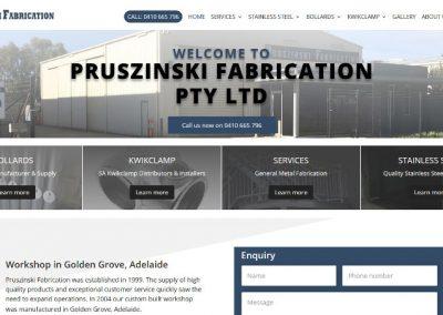 Website design for Pruszinski Fabrication PTY LTD