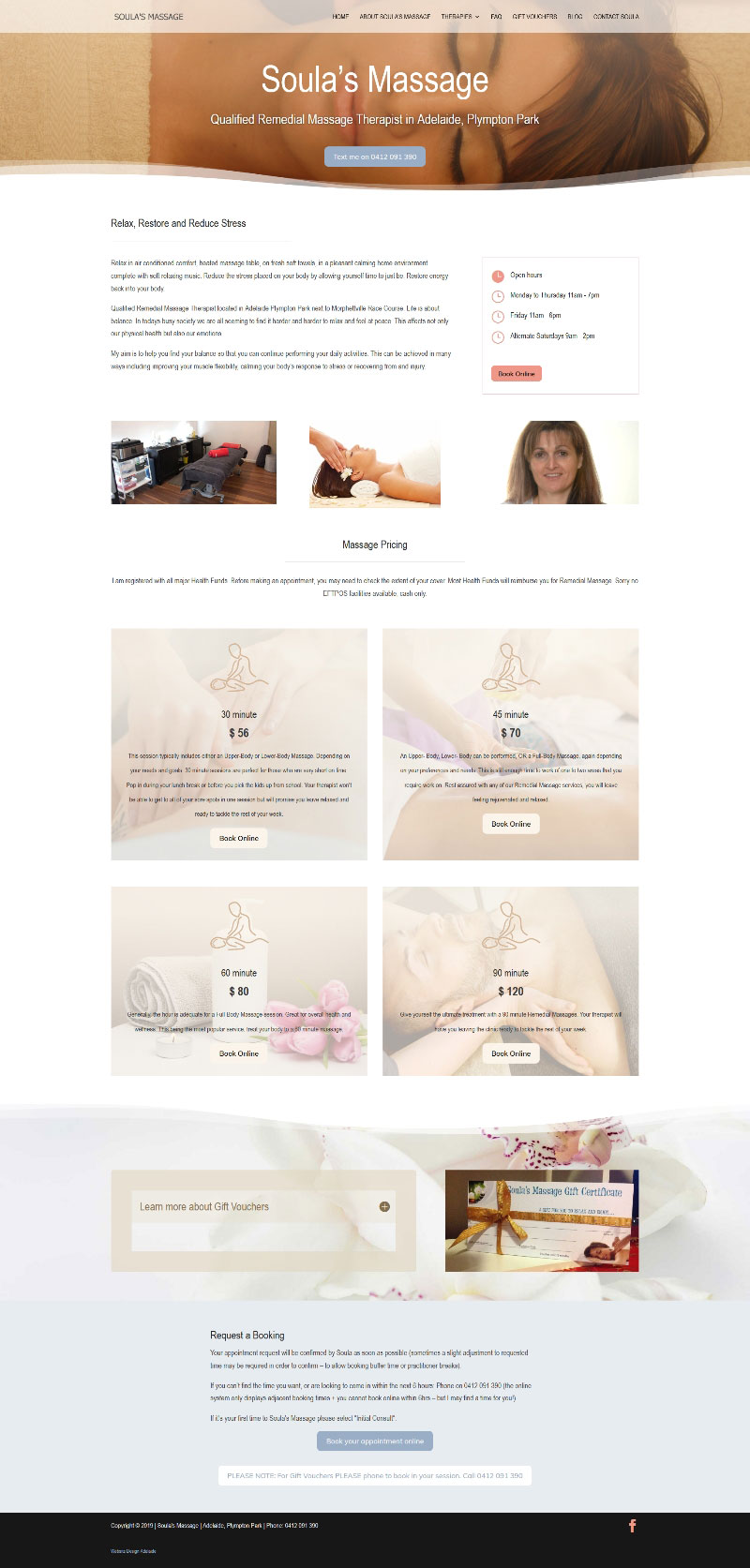 Massage Therapist in Adelaide Website design