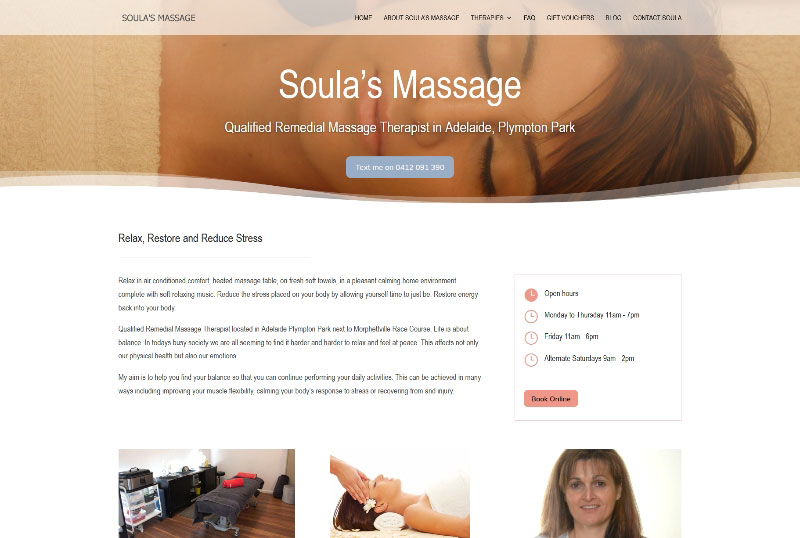 Website for Massage Therapist in Adelaide