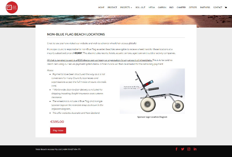ecommerce website for Manufacturers of leading all-terrain wheelchairs for beaches