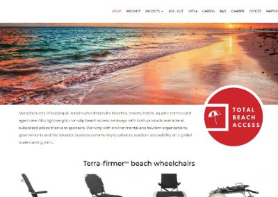 Ecommerce website for Terra-firmer™ beach wheelchairs