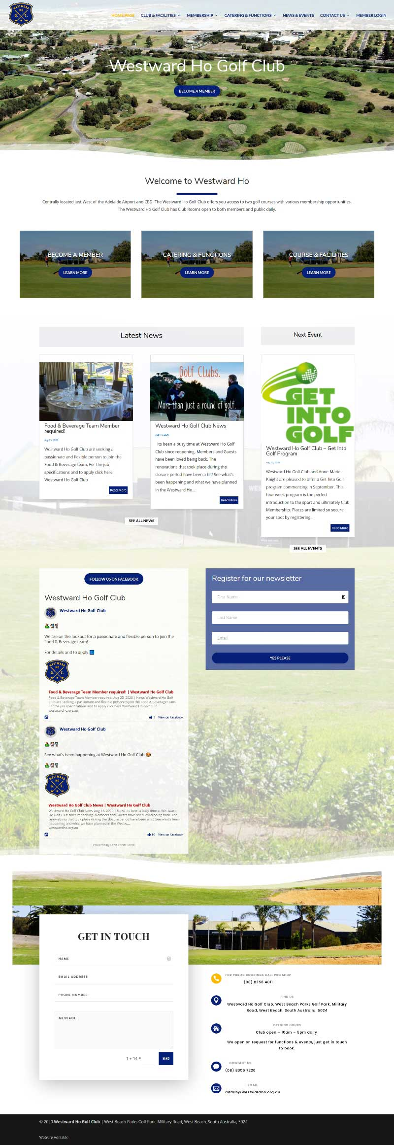 Website design for Westward Ho Golf Club