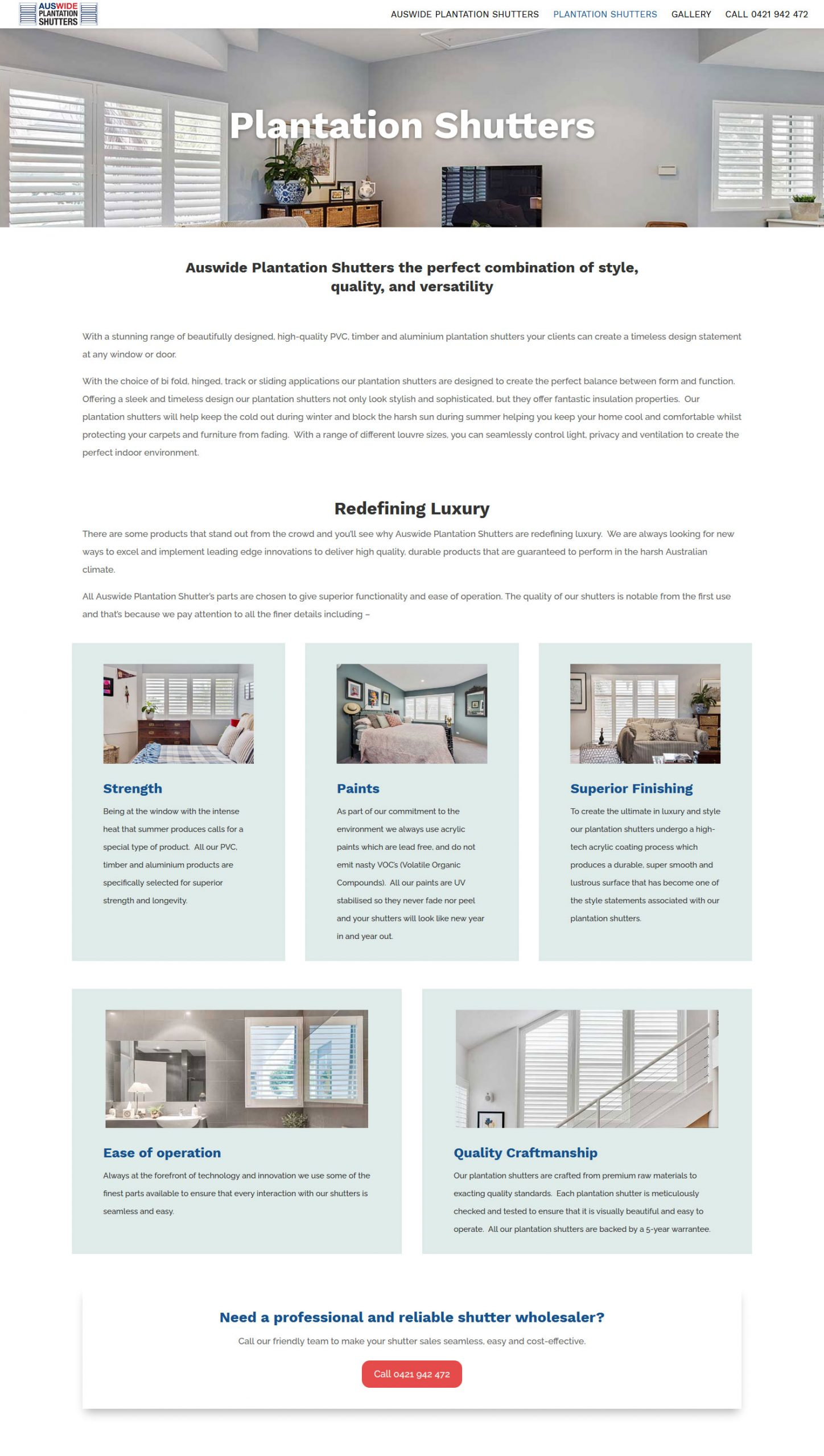 website for shutters and blinds services adelaide