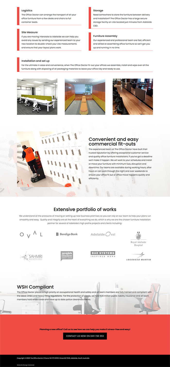 website example for commercial furniture installers in Adelaide