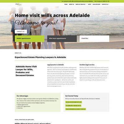 Website design for home visit wills across Adelaide
