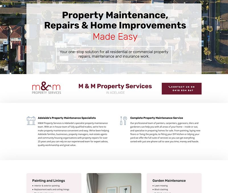 Website design for property maintenance service business in Adelaide