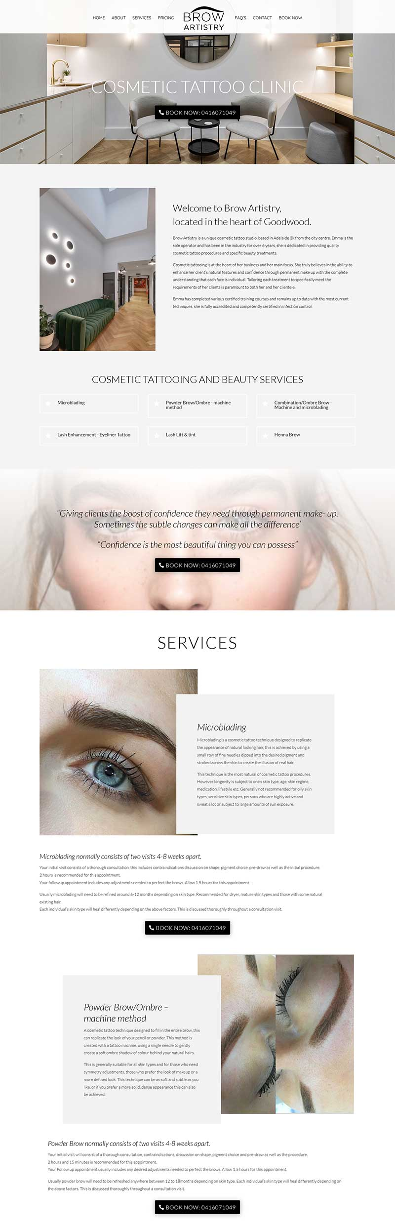 website desing for Cosmetic Tattoo Clinic Adelaide