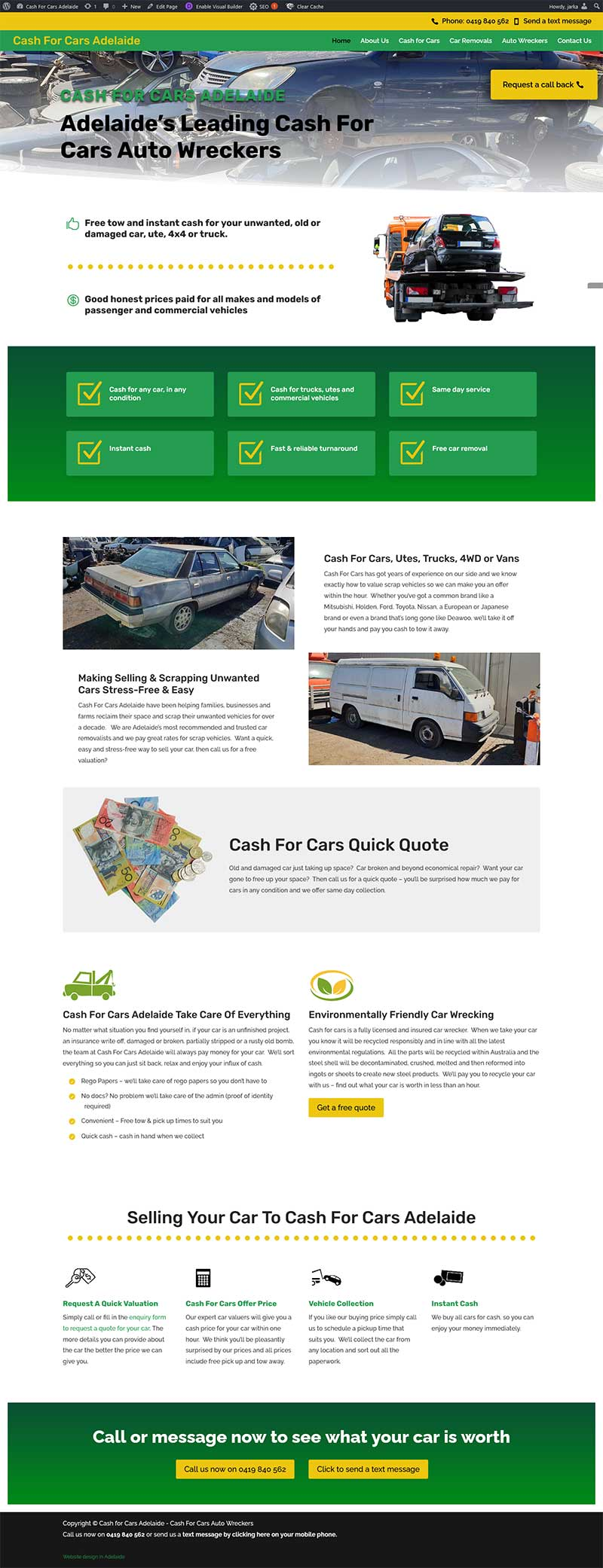 website design and copywriting for cash for cars adelaide