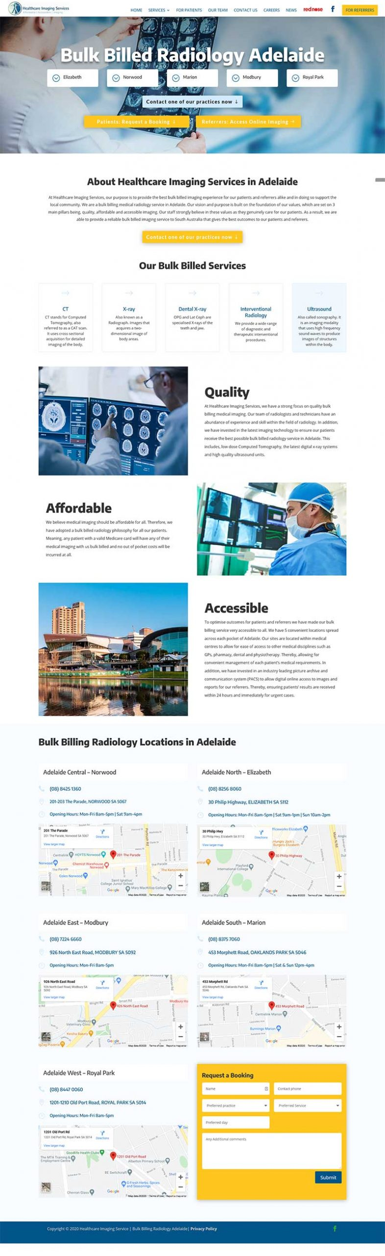 website design for adelaide radiology