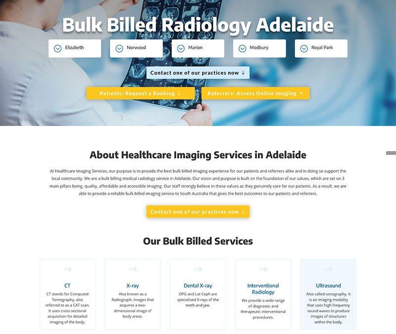 Website design project for Bulk Billed Radiology Adelaide
