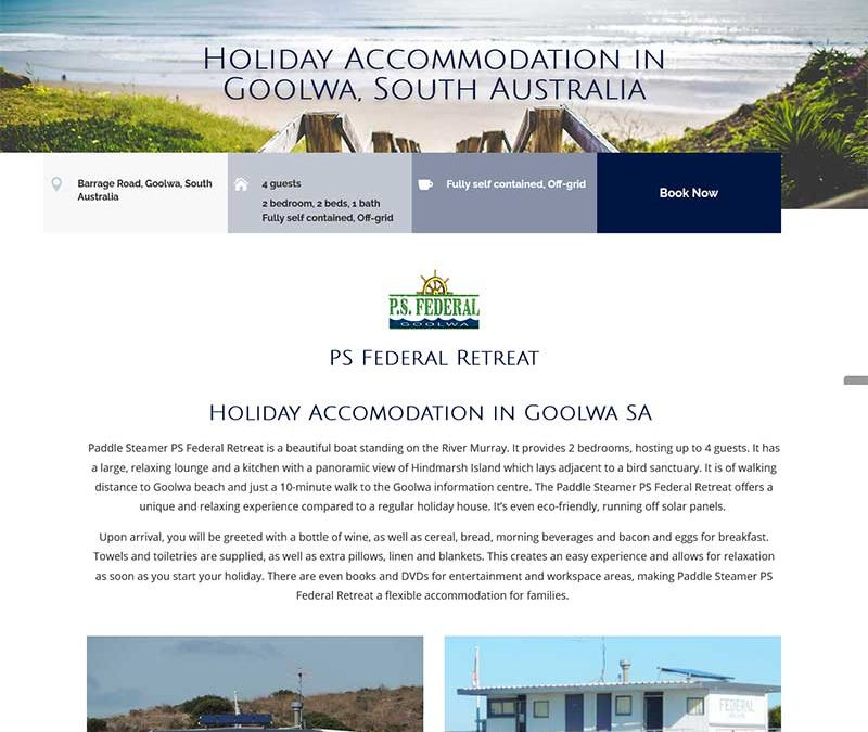 Website for holiday rental accommodation with online booking