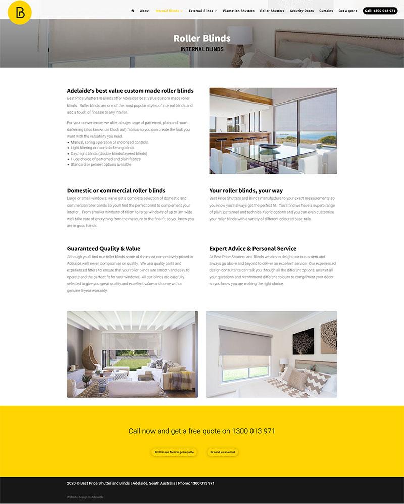 website design adelaide shutters blinds website example