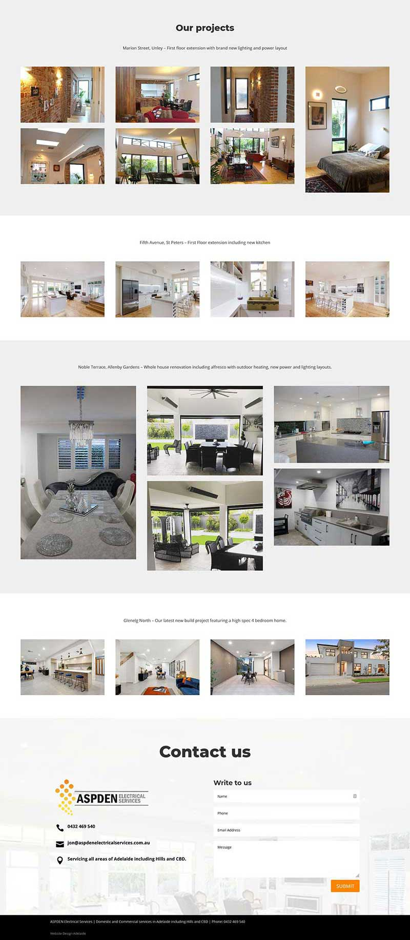 Website design for electrician in Adelaide
