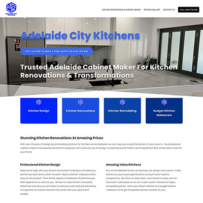 Web design for a kitchen renovation business in Adelaide