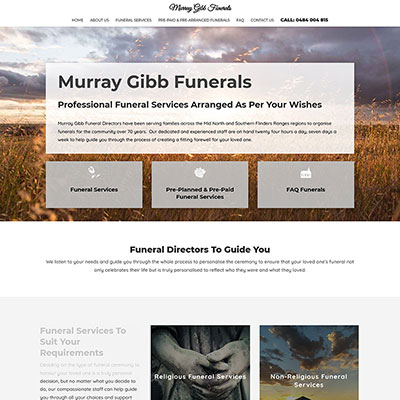 Website design for a funeral director in South Australia
