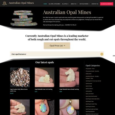 Website for Australian Opal Mines with ecommerce system