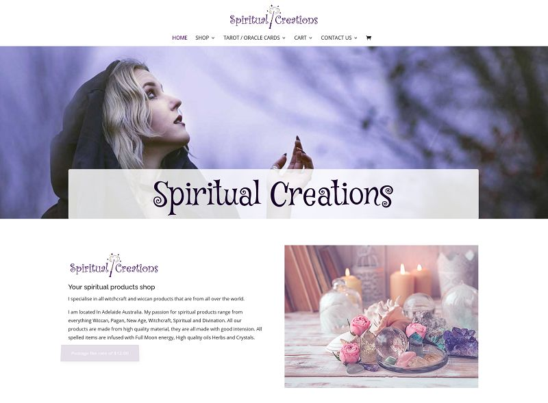 Ecommerce website for Spiritual Creations