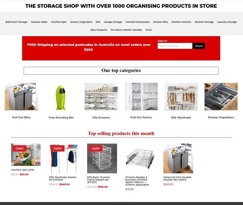 Ecommerce website for The Storage Shop
