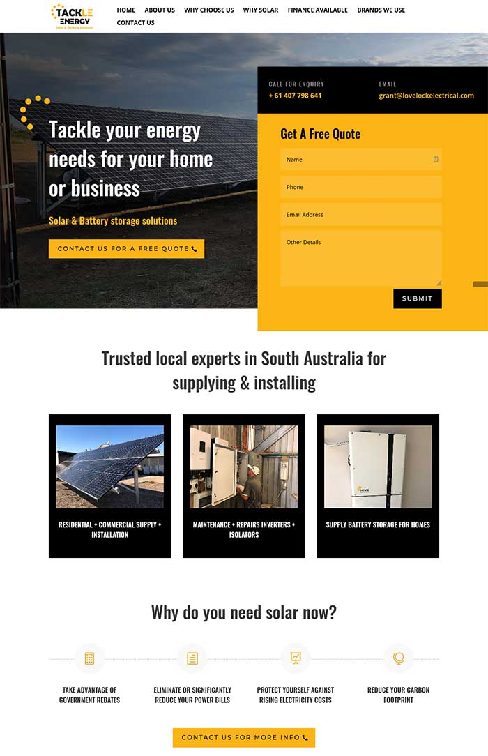 single page website design adelaide landing page