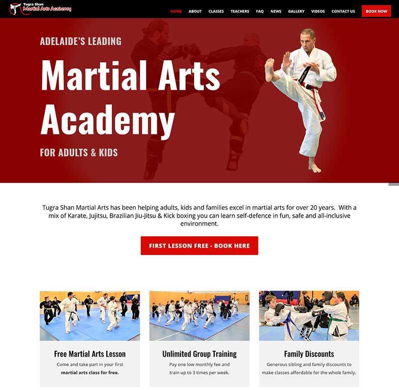 Martial Arts Academy website design