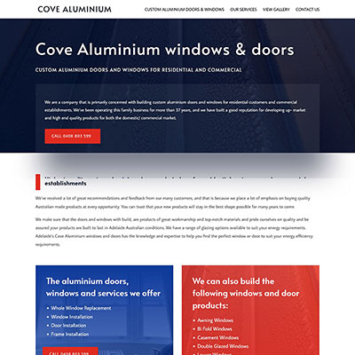 Website design for window business in Lonsdale
