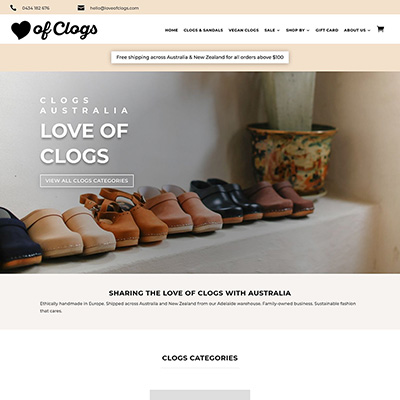 Shop / Ecommerce website for clogs in Australia