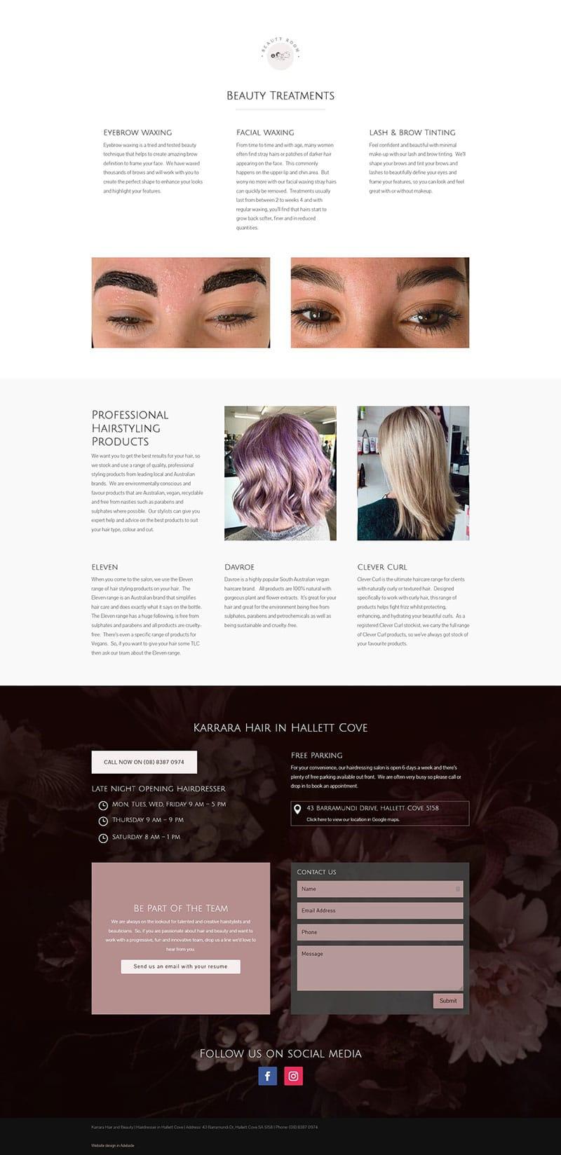 hairdressing website design in adelaide