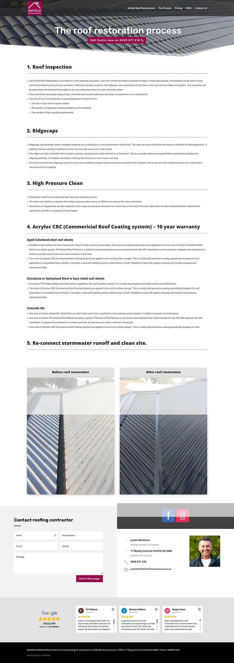 Website design for roof restoration business in Adelaide