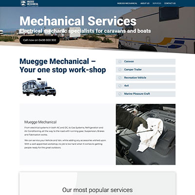 Website for Muegge Mechanical all RV & Marine works