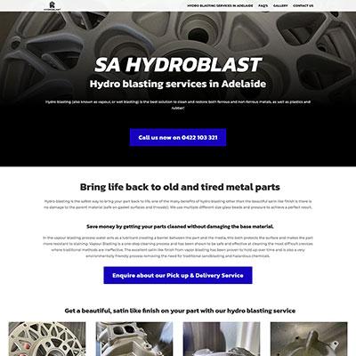 Single page website design for SA Hydroblast
