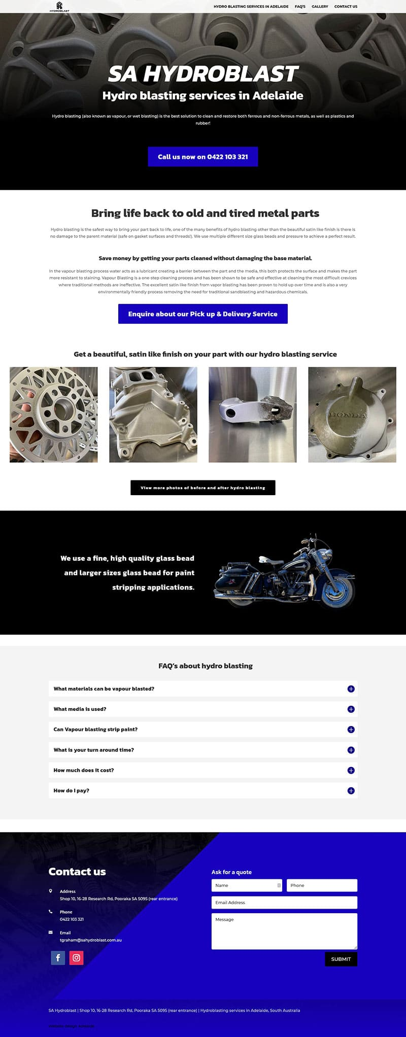 website design in adelaide single page website