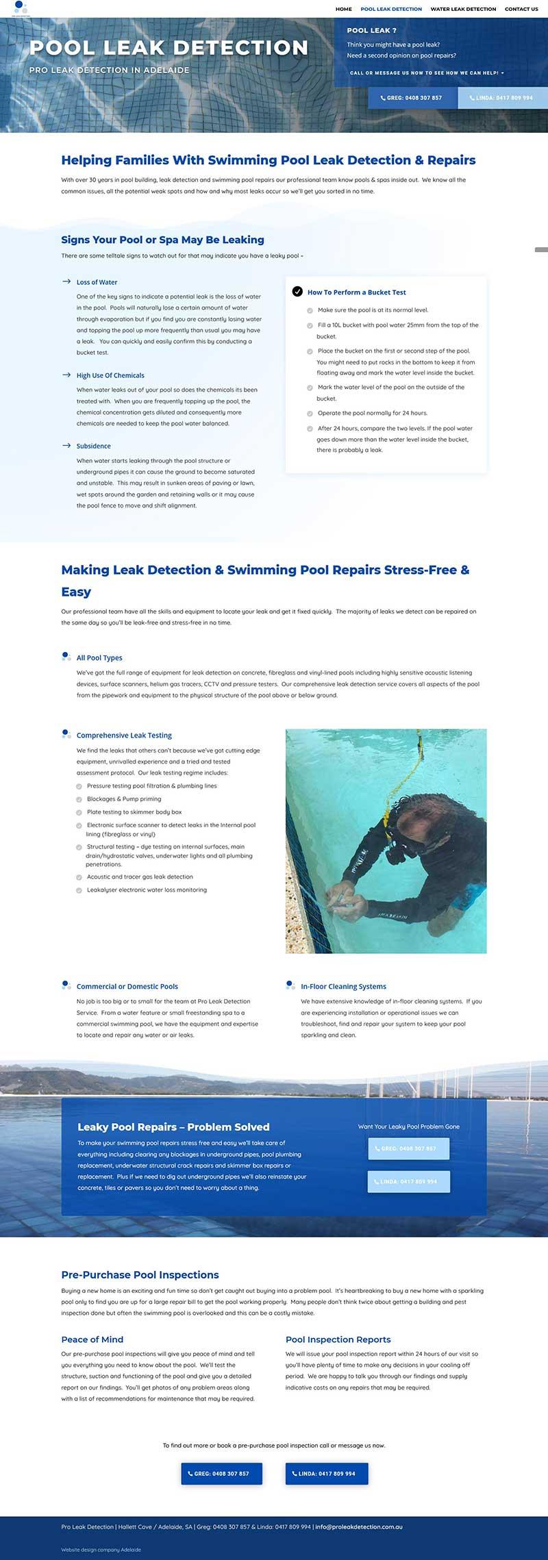 Business website for leak detection business in Adelaide