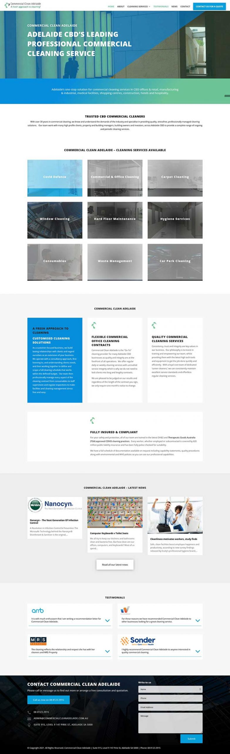 website design in adelaide for commercial cleaning business
