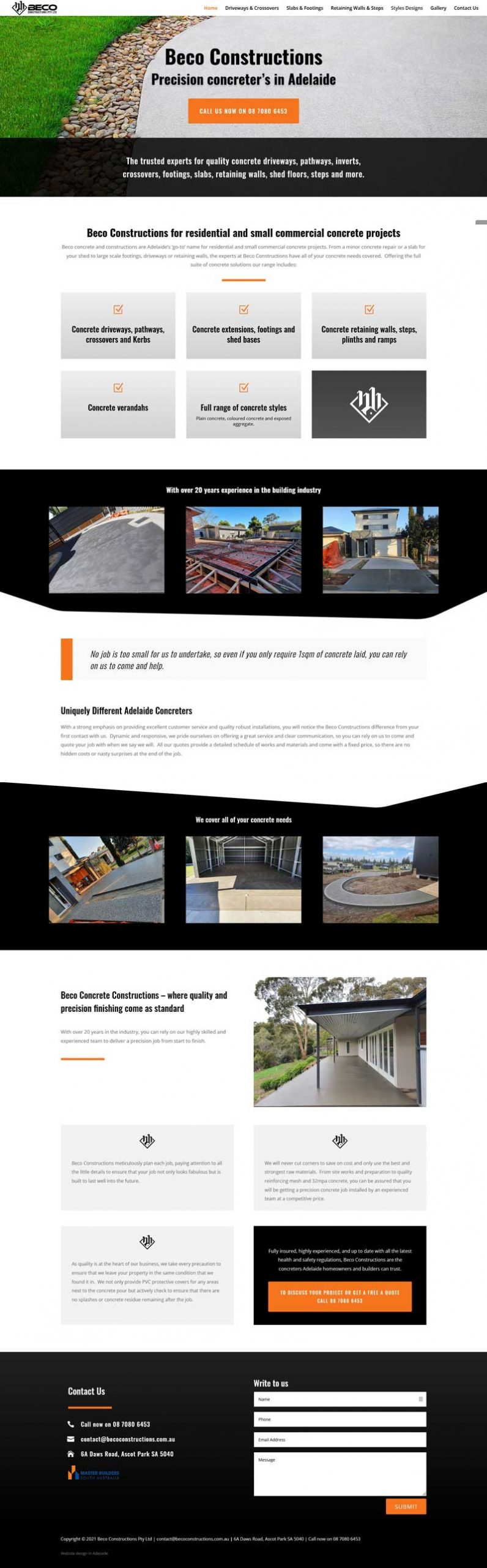 web design for concrete business in adelaide