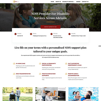 Redesign and new content for a disability service provider in Adelaide