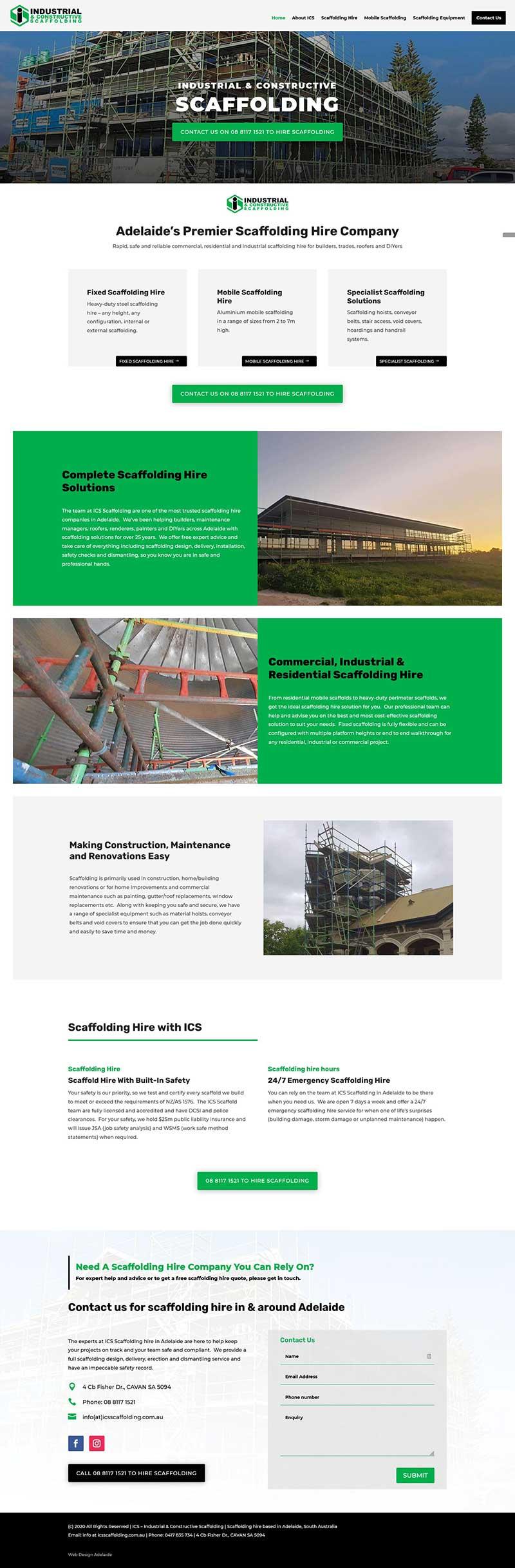 website design in adelaide scaffolding business