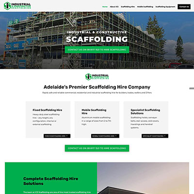 Web design for scaffolding company in Adelaide