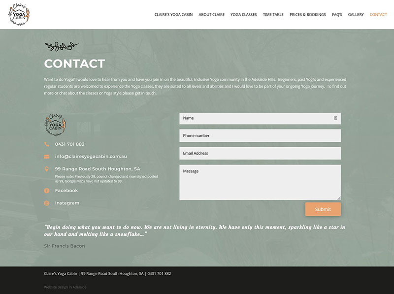 website design for a yoga studio in adelaide hills