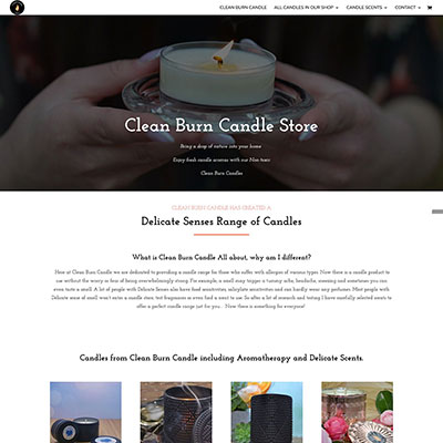 Ecommerce / Shop website for special candles