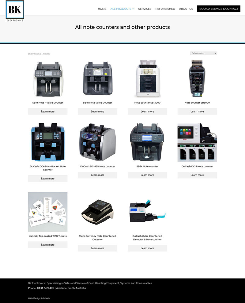 Product cataloge website for note counting and coin handling