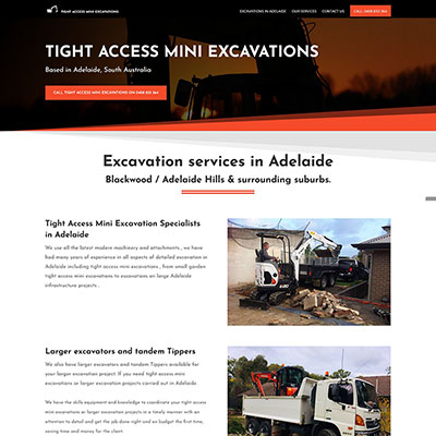 Website design for an excavation business in Adelaide