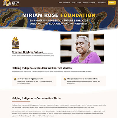 Miriam Rose Foundation – website design and copywriting