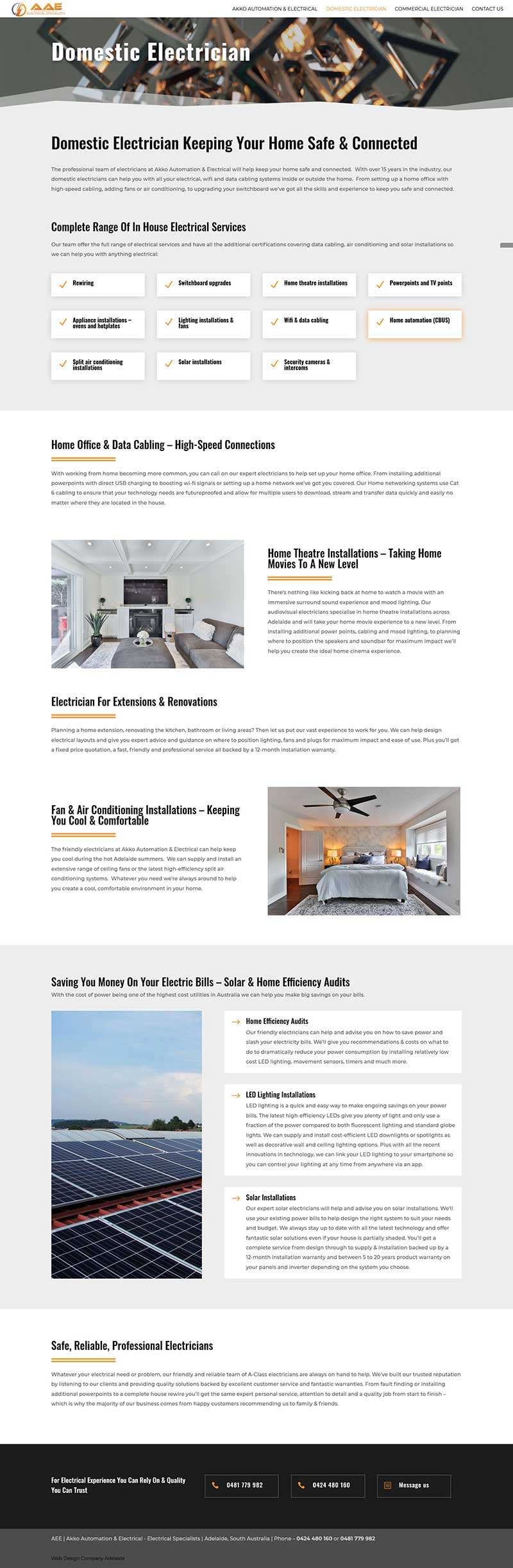 Website design for an electrical firm in Adelaide