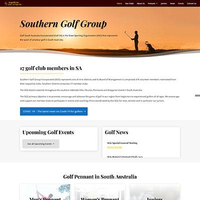 Website design for a golf club in South Australia