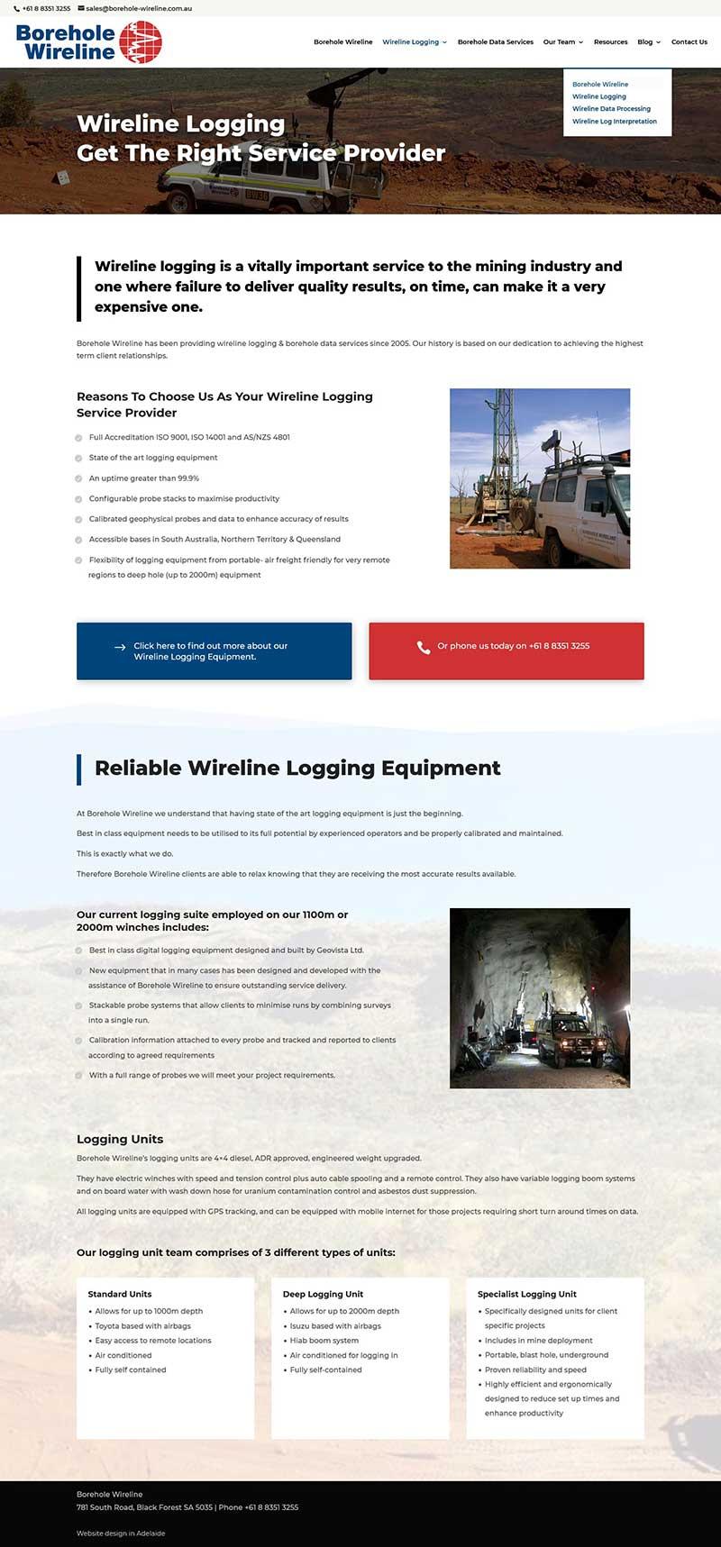 website design for borehole-wireline