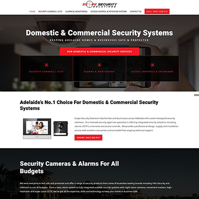 Website design and content writing for a security business